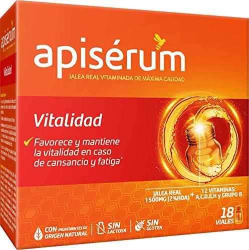 Apisérum Vitalidad Viales bebibles - - Jalea Real con Vitamina C - Multivitamínico - Vitaminas A,C,D,E,H y grupo B - Ayuda a reforzar el sistema inmunitario* - Tratamiento para 18 días