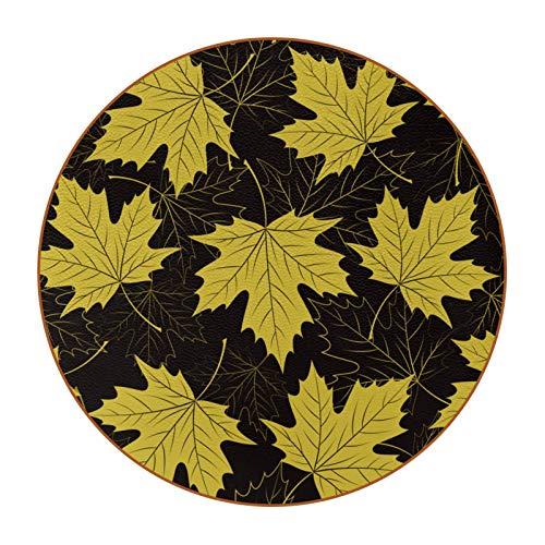 Paquete de 6 posavasos redondos de cuero de fibra supercolorida para bebidas, copas de vino, tazas, primavera, amarillo, hojas de arce