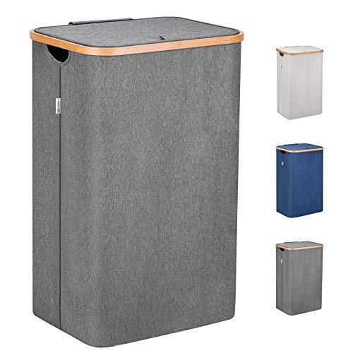 Lonbet® - Wäschekorb mit Deckel Groß - XXL 100 Liter - Wäschekorb Holz Bambus - Wäschesammler Grau mit Griffen - Grey Laundry Basket - Laundry Hamper with Lid