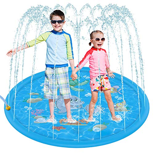 Tobeape Upgraded Sprinkler Splash Pad for Kids, Inflatable Outdoor Water Mat Toys Wading Swimming...