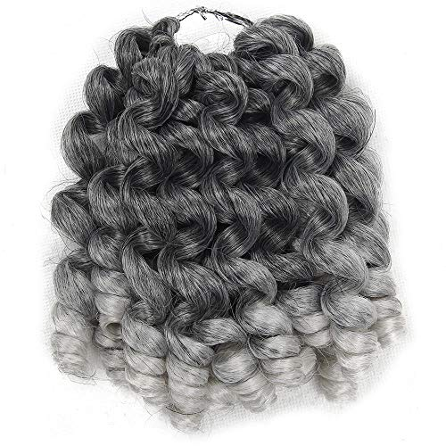 Perruque Jamaican Bounce Crochet Hair Ombre Jumpy Wand Curl Synthetic Braiding Curly Crochet Braid Twist Hair Extensions-T1B / Grey_8Inches