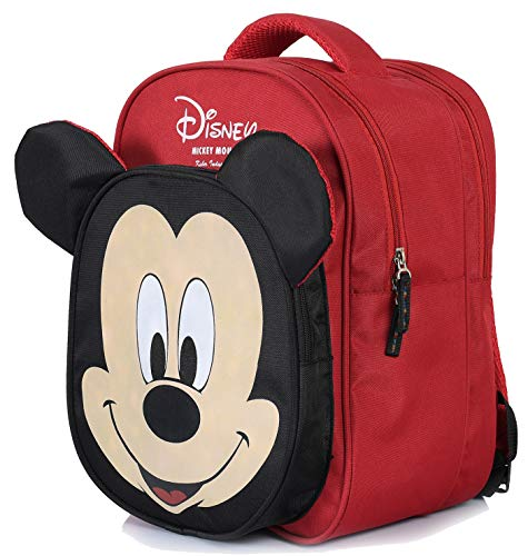 Kuber Industries Disney Mickey Mouse 15 inch Polyster School Bag/Backpack for Kids, Red & Black-DISNEY001