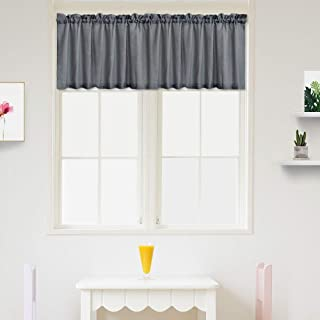 IDEALHOUSE Grey Curtain Valances,Draperies Curtains for Cafe,Bathroom & Kitchen or Kids Bedroom Rod Pocket Short Window Curtains (1 Panels, 15 Inch Wide by 60 Inch Long)
