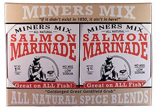 MINERS MIX Gourmet Salmon Marinade Dry Mix Is Not Just For Salmon; It's Great For All Fish That Swam. Bake Or Grill Whole Or As Fillets Directly On Grate Over Charcoal Or Gas. 4 Pack (Best Way To Fillet A Bass)
