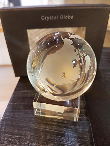 Oleg Cassini Weltkugel aus Kristallglas, Globus 70mm, Glas Kugel mit Sockel in Geschenkbox