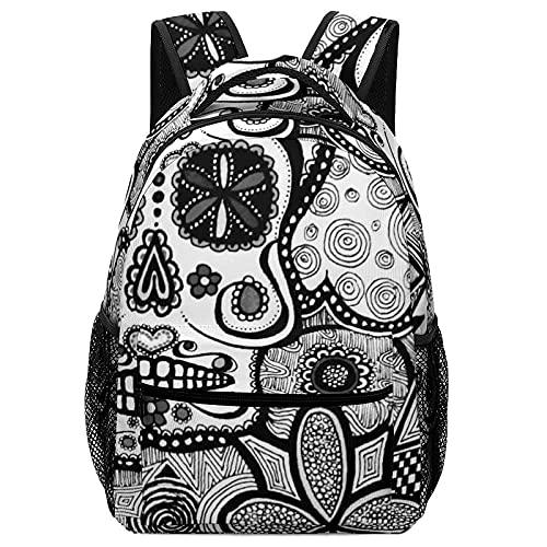 Mochila escolar Black White Doodle Sugar Skull Double Backpack Sackpack Teens Childrens Notebook With Side Pocket Lightweight Adjustable Bookbag 16.5inch