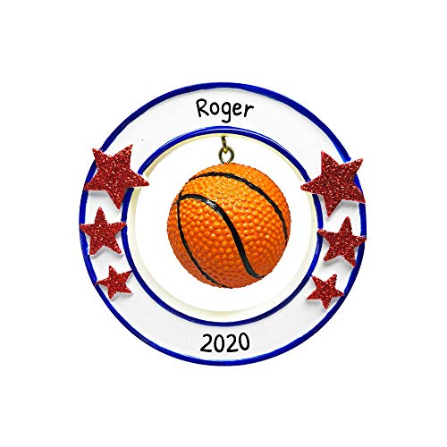 Personalized 3D Basketball Christmas Tree Ornament 2019 - Athlete Ball Dangle Round Frame Stars Hobby College Profession Score Grand-Son Grand-Daughter Year Team B-Ball School - Free Customization