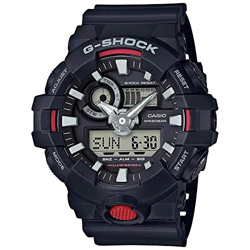 Casio G Shock Quartz Watch with Resin Strap, Black, 25.8 (Model: GA700-1ACR)