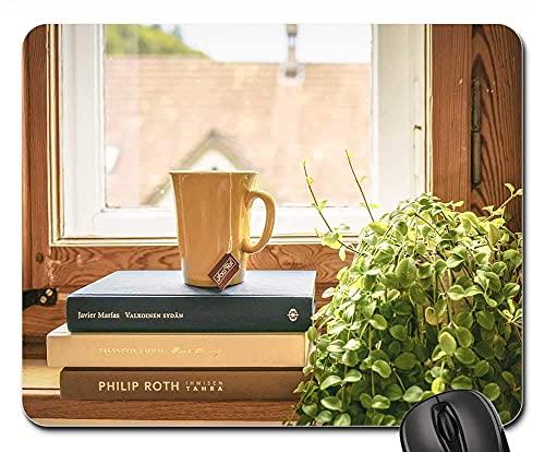 Mauspad - Buch lesen Tee Literatur Fensterbank Zimmerpflanze