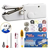 Handheld Sewing Machine - Anbaituor Mini Electric Sewing Machine Portable Hand Sewing Machine for Beginning Quick Repairing for Clothing Curtain DIY Crafts, Household and Travel Use (New-White)