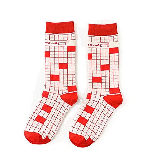 UKKD Socken Damen 5 Paar Socken Baumwolle Lustige Niedliche Cartoonfunktion Formel Tafel Milchkarton Quadratische Grafiken Harajuku Skateboard-4