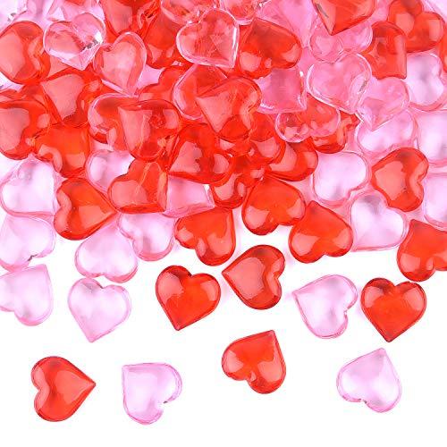 FEPITO Acryl Hart voor Valentijnsdag Decoraties, 0.87Inch Valentijnsdag Hart Ornamenten voor Vaas Filler, Tafel Scatter, Bruiloft Decoraties 100Pcs Red+pink