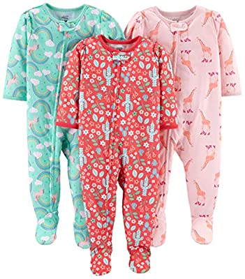 Simple Joys by Carter's Girls' Toddler 3-Pack Loose Fit Flame Resistant Polyester Jersey Footed Pajamas, Giraffe/Rainbow/Floral, 4T