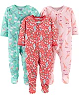 Simple Joys by Carter's Girls' Toddler 3-Pack Loose Fit Flame Resistant Polyester Jersey Footed Pajamas, Giraffe/Rainbow/Floral, 2T