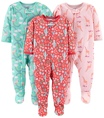 Simple Joys by Carter's Girls' 3-Pack Loose Fit Flame Resistant Polyester Jersey Footed Pajamas, Giraffe/Rainbow/Floral, 18 Months