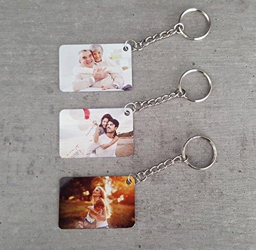 Saphirdesign Schlüsselanhänger aus Metal mit Wunsch-Motiv-Bild-Logo. Geeignet als Werbe-Erinnerungs-Geschenk. Das perfekte individuelle Fotogeschenk. (Rechteckig beidseitig)