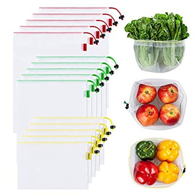 Ecowaare Set of 15 Reusable Mesh Produce Bags,3 Sizes Washable and See-Through Grogery Bags,with Colorful Tare Weight Tags,5 Small 5 Medium & 5 Large