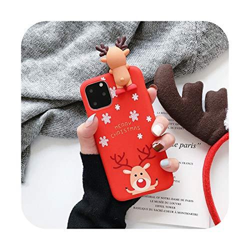 Linda muñeca 3D dibujos animados Navidad Santa Reno árbol suave teléfono caso para iphone 11 Pro Max 12 X XS XR 7 8 Plus SE 2020 cubierta regalo-A-para iphone 12