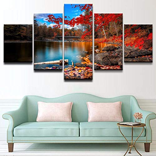 Wslin Canvas Schilderij Hd Gedrukt 5 Panel Mooie brug herfst Lake Leaf Natuur Rok Tree Water Moderne Home Wall Art Decor Poster Afdrukken op canvas 150X80cm