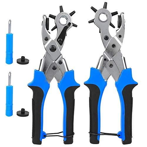 TMISHION Presch Lochzange für Leder, 2pcs 6 Löcher Gürtellochzange Heavy Duty Revolverlochzange, Riemenloch-Lochzange Handbuch Multifunktionales Stanzwerkzeug