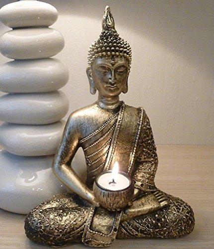 GROSSE GOLDENE BUDDHA TEELICHTHALTER, MEDITIERENDER BUDDHA