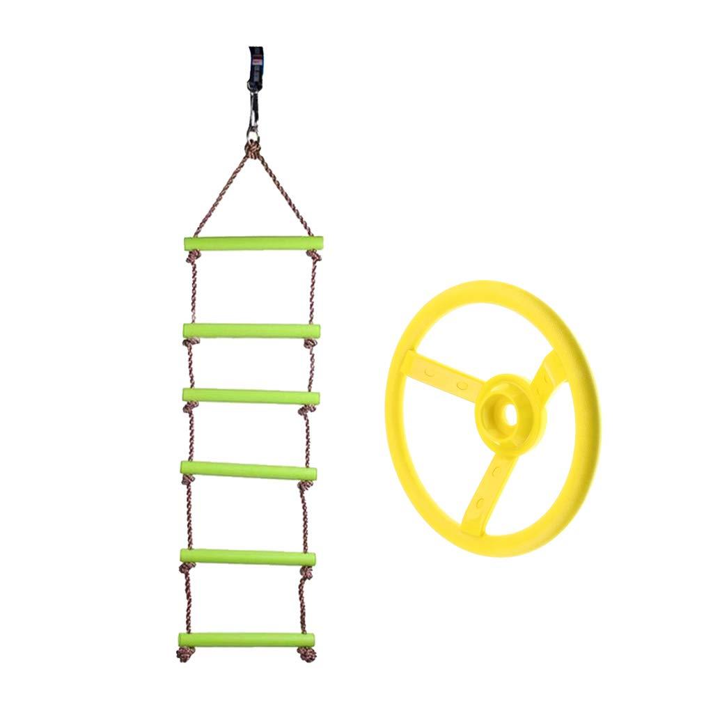 B Blesiya 120kg Escalera de Cuerda Colgante Infantil + Volante de Columpio, Juguete de Diversión para Niños Niñas: Amazon.es: Juguetes y juegos