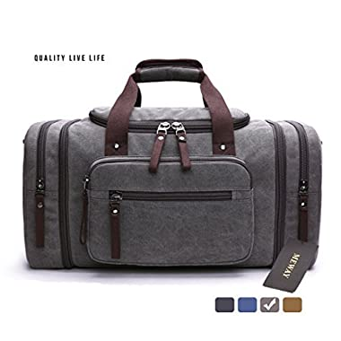 Canvas Overnight Bag Travel Duffel Shoulder Handbag with Strap by MEWAY (CANVAS, GREY)