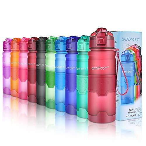Botella de agua deportiva, 500ml & 700ml y 1000ml-BPA Botella ecológica de plástico Tritan con filtro, tapa abatible, se abre con 1 clic, reutilizable con tapa a prueba de fugas para acamp