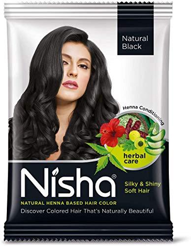 Nisha - Poudre de henné pour cheveux colorés naturels - Noir naturel - Lot de 10