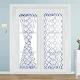 French Door Curtains, NAPEARL Moroccan Tile Pattern Sidelight Curtains for Front Door, Semi-Sheer Door Window Curtains with Top and Bottom Rod Pocket, 1 Panel, ( W52 X L72 in, Blue )