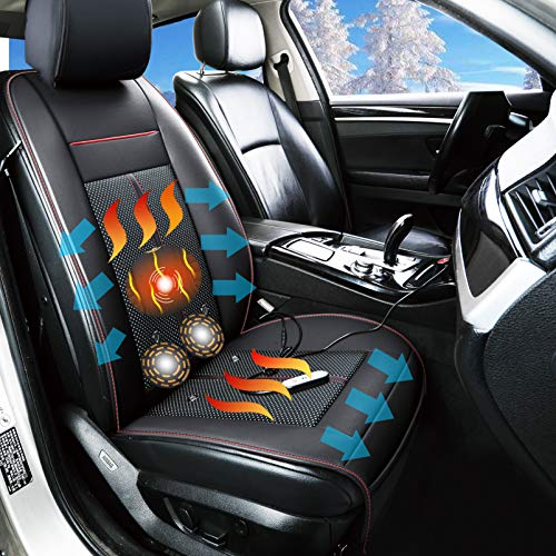 Fochutech Heated Car Seat Covers Cooling Car Seat Cushion with Massage Seat 12V Front Seat Driver Seat Cooler Warmer Heater PU Leather Car Seat Protector Non Slip, Fits All Seasons