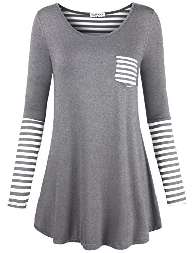 EMVANV Women's Soft Casual Back and Sleeve Stripe A-Line T Shirt Dress Tunic Top (Small, White Grey)