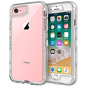 Anuck Case for iPhone SE 2020 Case iPhone 8 Case iPhone 7 Case 4.7  3 in 1 Heavy Duty Defender Shockproof Full-Body Clear Protective Case Hard Plastic Shell & Soft TPU Bumper Cover Crystal Clear