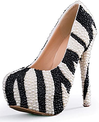 BGYHU Ggx femme Chaussures Stiletto Talon talons talons Mariage fête & Soir robe Noir et blanc