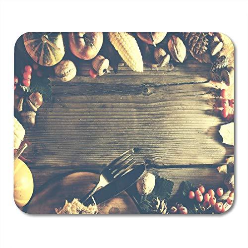 Semtomn Mouse Pad Orange Erntedankfest der Produkte Fülle Galadinner Kostenloses Mousepad für Notebooks, Desktop-Computer Mausmatten, Büromaterial