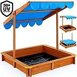 Deuba Sandkasten 120x120cm mit höhenverstellbarem und neigbarem Sonnendach und Bodenplane UV-Schutz >50 Sandkiste Kindersandkasten Buddelkiste Sandbox Sandkiste Kinder