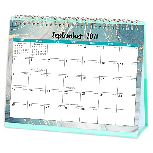 Desk Calendar 2022 – Standing Flip 2022 Desktop Calendar with Thick Paper, 25.5 x 20 cm, runs from now to Dec. 2022, Memo Pages, Twin-Wire Binding – Watercolor Ink