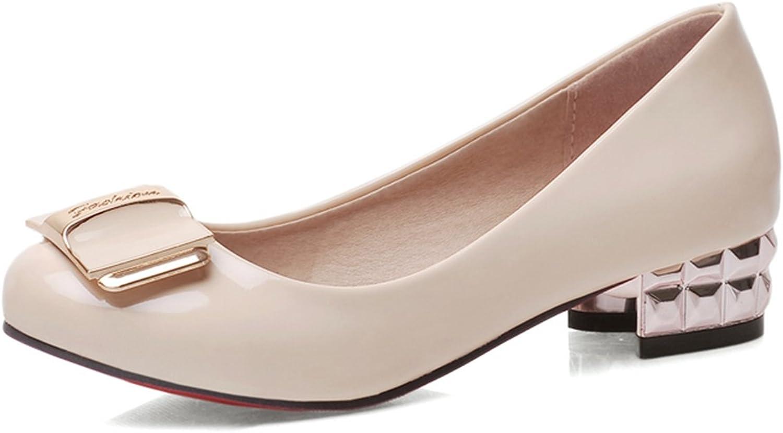 DoraTasia Women's Metal Decoration Slip on Small Round Toe Block Heel Pumps shoes