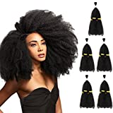 5 Bundles Afro Kinkys Curly Hair Extensions (13' x 5, Natural Black) - Afro Twist Braiding Hair - Afro Kinkys Bulk Hair Braiding - Synthetic Hair Extensions for Braiding