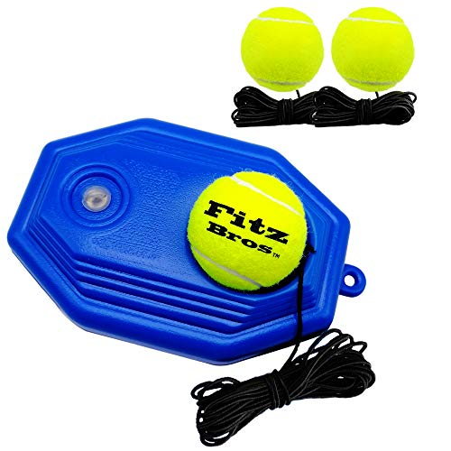 Fitz Bros Tennis Trainer Rebound Ball Solo Training Tool Self Practice NonSlip Tennis Accessory for Beginners Kids and Adults | 3 Elastic String Balls