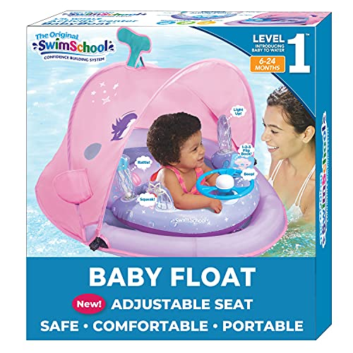 SwimSchool Infant Baby Pool Float with 5 Toy...