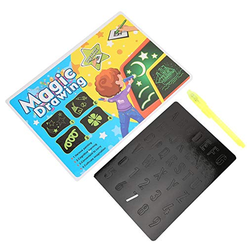 Fluorescent Drawing Board, 3D Magic Drawing Board with Pen Writing Board Light Up Drawing Pad for Kids Gift(Yellow English A3 + Pen)