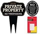 SignDuty Private Property No Trespassing DiBond Metal Yard Sign + No Soliciting Door Sign w/Double Sided mounting Strip for Home & Business (1)