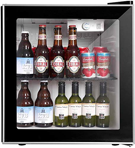 COOLLIFE Beverage Refrigerator Cooler - 60 Can Mini Fridge with Reversible Glass Door for Beer Soda or Wine - 1.6cu.ft. Small Drink Center Dispenser Perfect for Office/Man Cave/Basements/Home Bar