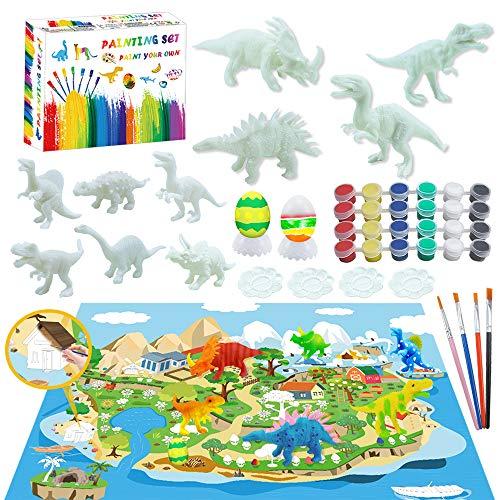 Erlliyeu 47 Stück. 3D Kinder Dinosaurier Malerei Kit,Kunst Bastelset für Kinder, Dinosaurier Set, Kreativität Basteln DIY Geschenk für Weihnachten, Geburtstag, für Kinder Jungen und Mädchen (47PCS)
