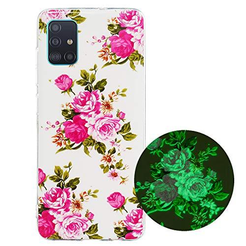 Miagon Leuchtend Luminous Hülle für Samsung Galaxy A31,Fluoreszierend Licht im Dunkeln Handyhülle Silikon Case Handytasche Stoßfest Schutzhülle,Rose Blume
