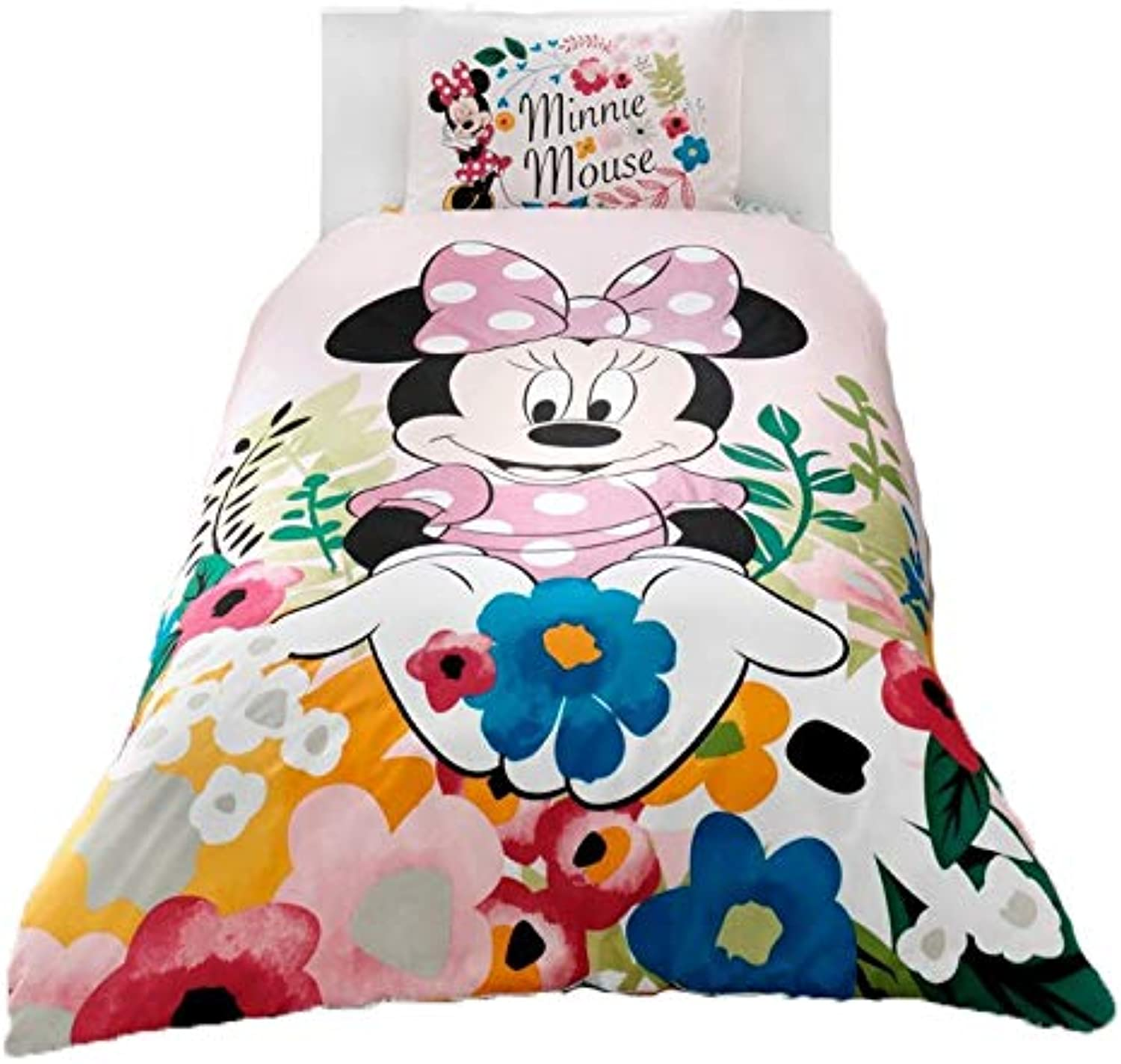 Wellstil Minnie Mouse Glitter0 Cotton Girl's Kid's Duvet Quilt Cover Set Single Twin Size Kids Bedding