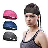 ECOLIVZIT Women Sweatband Sports Headband for Workout, Yoga, Fitness, Running, Crossfit, Cycling, Yoga, Basketball, Soccer,Tennis - Cooling Breathable Moisture Wicking Sweat Band