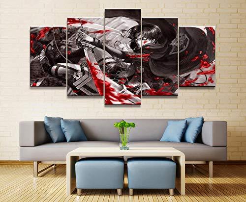 YB gedrukte afbeeldingen canvas 5 P Anime aanval op Titan Levi Ackerman karakters poster wooncultuur muurkunst olieverfschilderij 25x38cm-2p 25x50cm-2p 25x63cm-1p geen lijst