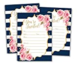 50 Watercolor Navy and Rose Floral Invitations and Envelopes (Large Size 5x7) - Any Occasion - Wedding Invitations, Bridal Shower, Rehearsal Dinner, Baby Shower, Anniversary, Retirement (50 Pack)